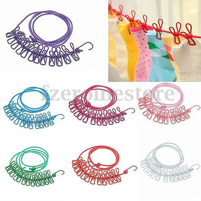 12× Clip Cloth Washing Line Drier Airer Clothes Travel Camp Laundry Rope Line