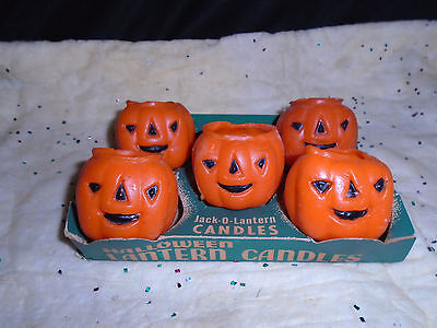 "Box Set Of 5 ""jack-O-Lanten Candles""  Made By The Gurley Novlty Co."