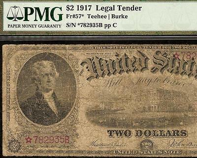 LARGE 1917 $2 DOLLAR BILL * STAR CURRENCY US LEGAL TENDER NOTE BETTER Fr 57* PMG