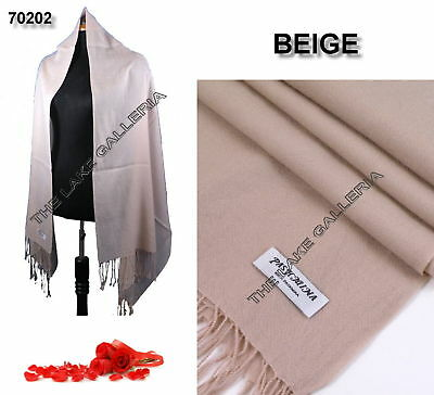 New Classic Beige Real 100% Pure Pashmina Cashmere Wool Shawl Wrap Scarf Soft