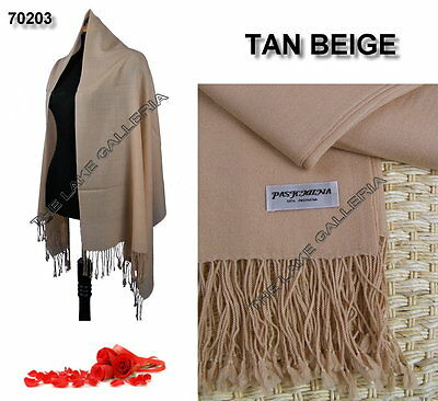 New Classic Tan Beige Real 100% Pure Pashmina Cashmere Wool Shawl Wrap Scarf