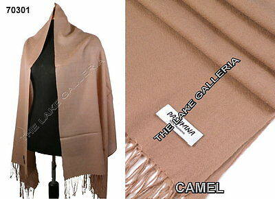 New Classic Light Camel Real 100% Pure Pashmina Cashmere Wool Shawl Wrap Scarf