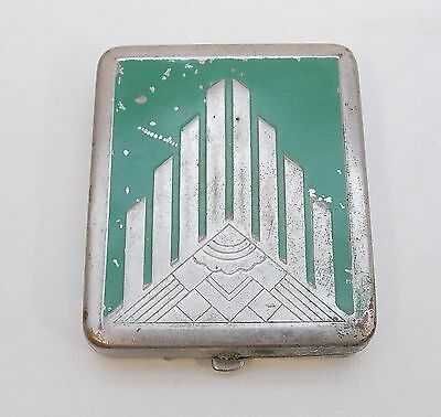 Vintage Antique ART DECO COMPACT, Silver Colored Metal with Green Accents
