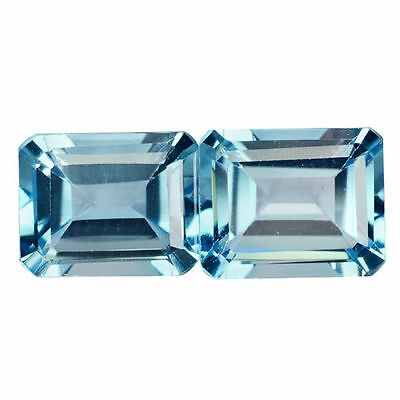 8.085 Cts Attractive Luster Blue Natural Topaz Octagon 2Pcs Loose Gemstones