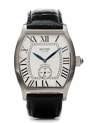 JAPAN Wancher Military Manual Stainless Steel White Dial Mechanical Men's Watch