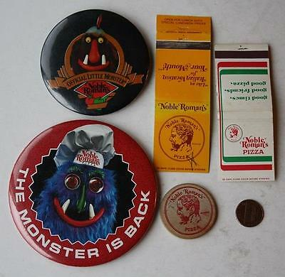 1970-80s Era Indianapolis,Indiana Noble Romans Pizza 5 Coin-Matchbook & Pin set!