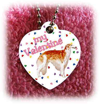 """Borzoi Russian Wolfhound heart necklace 24"""" chain NEW"""