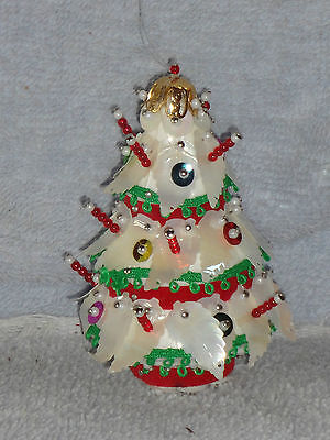 Sequin & Bead White Christmas Tree with Candles Ornament