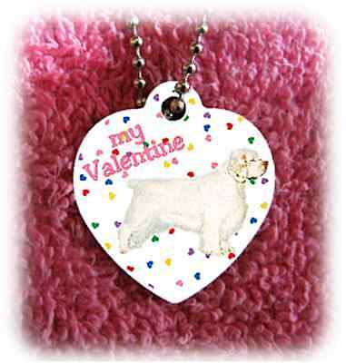 "Clumber Spaniel Dog heart necklace 24"" chain Valentine"