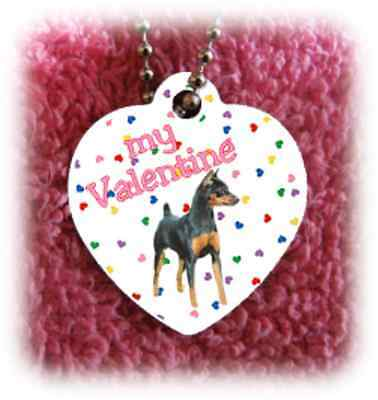Miniature Pinscher Dog heart necklace Valentine NEW
