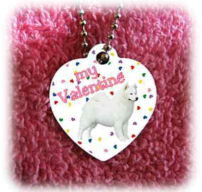 "Samoyed Dog heart necklace 24"" chain Valentine NEW"