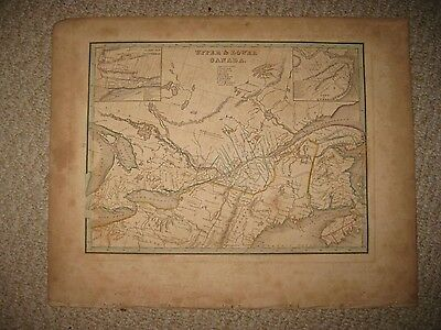 Early Antique 1835 Upper Lower Canada Bradford Map Quebec Montreal Unfinished Nr