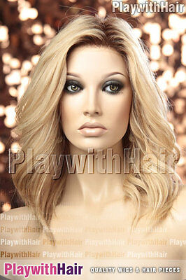 Flirty Lace Front Human Hair Wig Light Natural Blonde REGROWTH Dark Roots