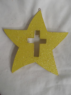 Yellow Glittered Star with Cross Christmas Tree Ornament new