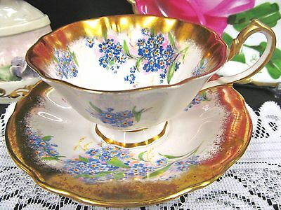 Queen Anne Tea Cup And Saucer Wide Mouth Flowered Thick Gold Teacup Pattern