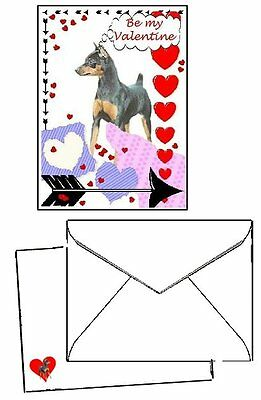 30 piece Valentine Cards Miniature Pinscher MinPin printed envelopes & seals