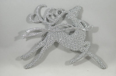 Silver Glittered Textured Deer Running Christmas Tree Ornament new holiday