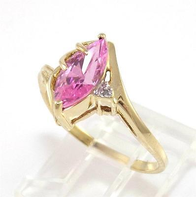 Solid 10K Yellow Gold Pink Stone Diamond Ring Size 6.5