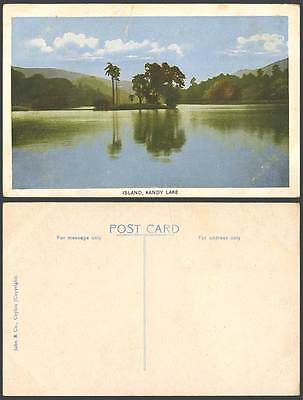 Ceylon Old Colour Postcard Palm Trees on Small Island Kandy Lake, Panorama Hills
