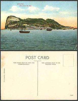 Gibraltar Old Color Postcard Rock from the BAY Ships Boats Panorama General View