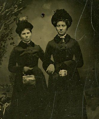 Tintype, Vintage Photo  Two Young Women