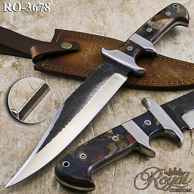 """14"""" Royal Hand Forged High Carbon Steel Rare Multi-Colored Micarta Hunting Knife"""