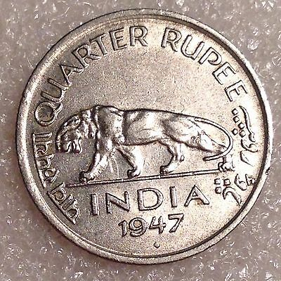 India 1/4 Rupee 1947 Nickel