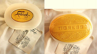 Vintage Faberge Tigress Savon Scented Soap 4 oz. with Travel Case w/1966 Booklet