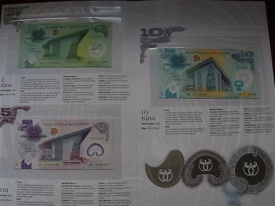 Papua New Guinea. 2010 - 35 Yrs Independence - Deluxe 3 Note Set. 2,5 & 10 Kina