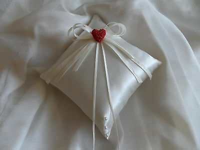 Ivory Satin Wedding Ring Cushion Hand Crafted with Red Heart
