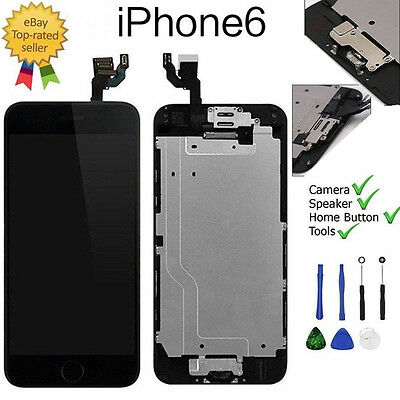"""iPhone 6 4.7"""" Screen Replacement LCD Digitizer Touch black & Home Button Camera"""