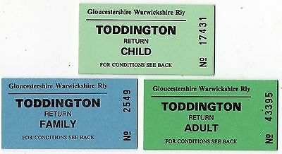 Railway Tickets.  Gloucestershire Warwickshire Rly. Child. Adult. Family