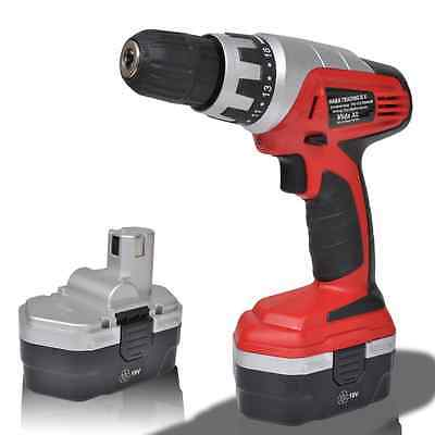 S# New 18V Cordless Drill Driver Electric Screwdriver Kit Set 2 Ni-Cd Battery To