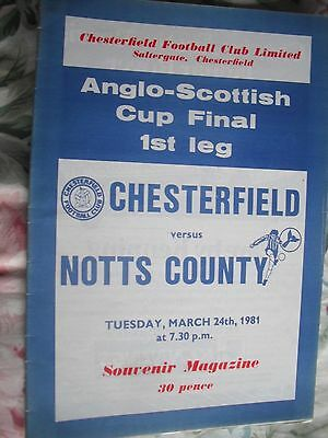 CHESTERFIELD v NOTTS COUNTY 24.3.1981 Anglo-Scottish Cup FINAL 1st Leg
