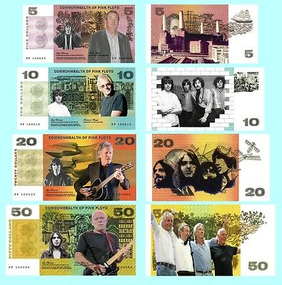 Set Of 4 Pink Floyd Fun Australian Notes 2 Sided