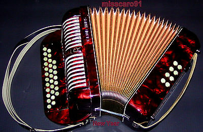 Rare !!! Made In Germany  Red Hohner C/f Club Iii Bs Diatonic Button Accordion