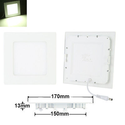 12W Ultra-Slim Square LED Recessed Ceiling Panel Down Light Spotlight Day White