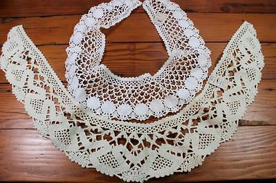 Vintage Hand Crocheted Collars x 2 - Retro 1960s - Craft, Sewing, Crochet Lace