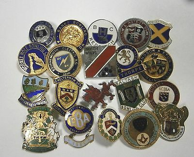 Collection of 20 UK Bowling Association Bowling Club Enamel Badges Bowls Lot 11