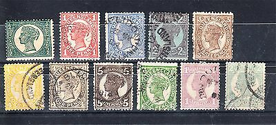 QUEENSLAND 4th SIDEFACE SET 11 TO 2/- USED (G59)