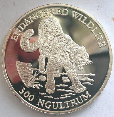 Bhutan 1991 Snow Leopard 300 Ngultrums Silver Coin,Proof