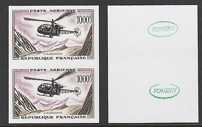 France (888) 1957 Helicopter 1000f IMPERF PAIR -  a Maryland FORGERY unused