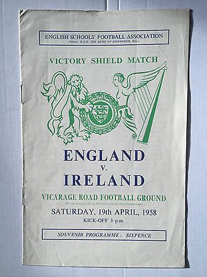 England vs (Northern) Ireland Victory Shield Match Programme 19 April 1958