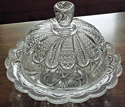 "EAPG ""Feather with Flanged Rim"" Covered Butter Dish, Indiana Glass c1890"