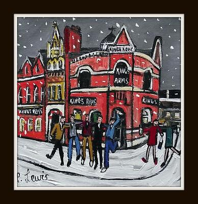 Revellers @ Kings Arms Salford Original Northern Art Oil Painting : Phil Lewis