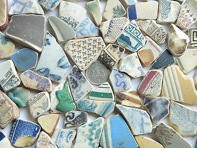 75 English Sea Glass Tumbled Beach Found Pottery Shards In Assorted Colours