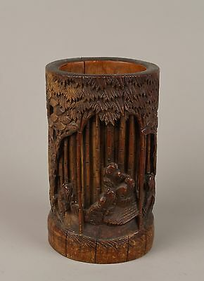 A Late 19th c. Chinese 清朝 (Qing Dynasty) Carved Bamboo Brush Pot, 'Bitong'.