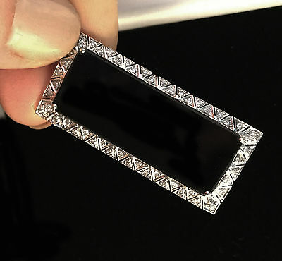 Fine, Art Deco Platinum Diamond (0.50ct) & Black Onyx panel brooch, Circa 1920