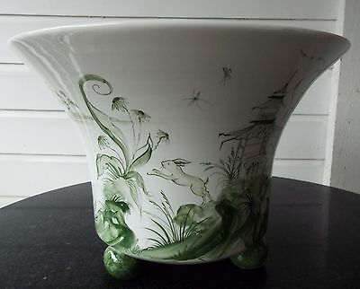 Isis Ceramics D. Sears Oxford Meadow Green Planter Cache Pot Holder Jardiniere