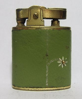 Old 1960's Buxton Lighter With Green Leather Wrap, Made In Japan, Good Spark